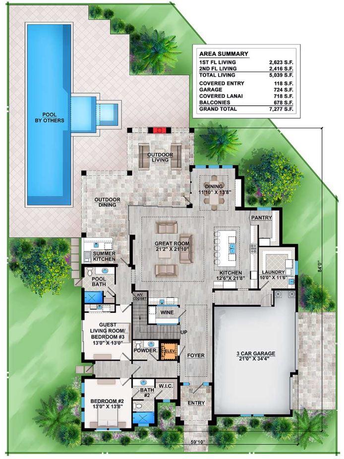 Plano de casa de 470 m2 de superficie cubierta for Planos de casas con piscina