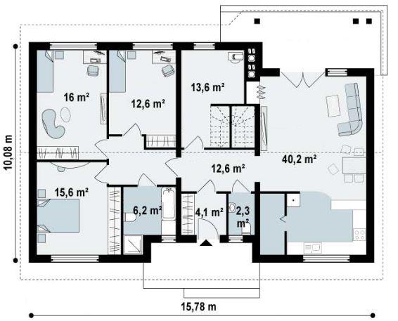 Plano de casa de tres dormitorios sin cochera for Cuarto de 10 metros cuadrados