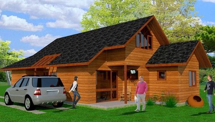se trata de una vivienda de dos pisos con techos a dos aguas recubiertos en tejas asflticas para proteger la madera de la estructura inferior