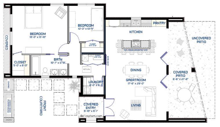 Plano de casa minimalista de 2 dormitorios for Vivienda minimalista planos