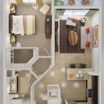 Diseño de departamentos de 2 ambientes