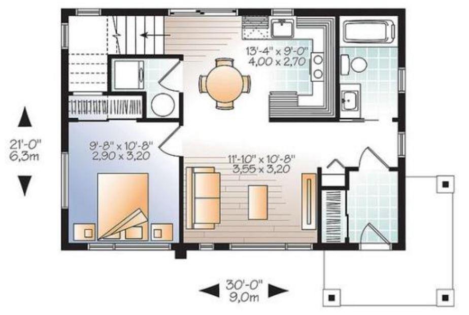 Planos de casas de 70 metros cuadrados for Cocina 6 metros cuadrados