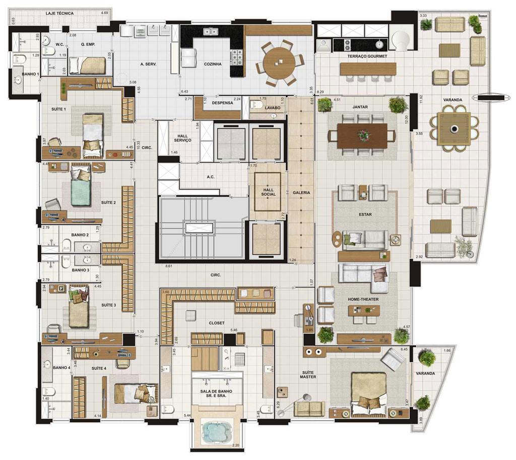 Planos para casa con 6 habitaciones for Edificio de departamentos planos