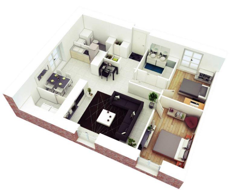 Planos de casas cuadradas de una planta for Planos de viviendas de una planta