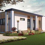 Casa moderna con pérgolas verticales