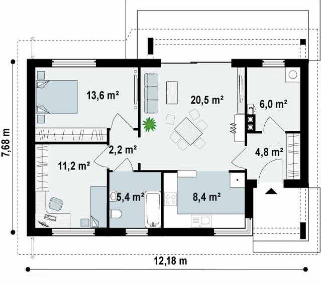planos de casas 70 m