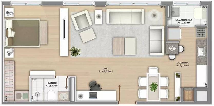 Plano de departamento moderno y luminoso for Diseno de apartamento de una habitacion