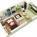 Plano de departamento rectangular con 1 dormitorio