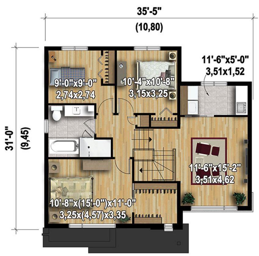 Planos de casas de 3 dormitorios en dos plantas for Planos de casas de dos dormitorios