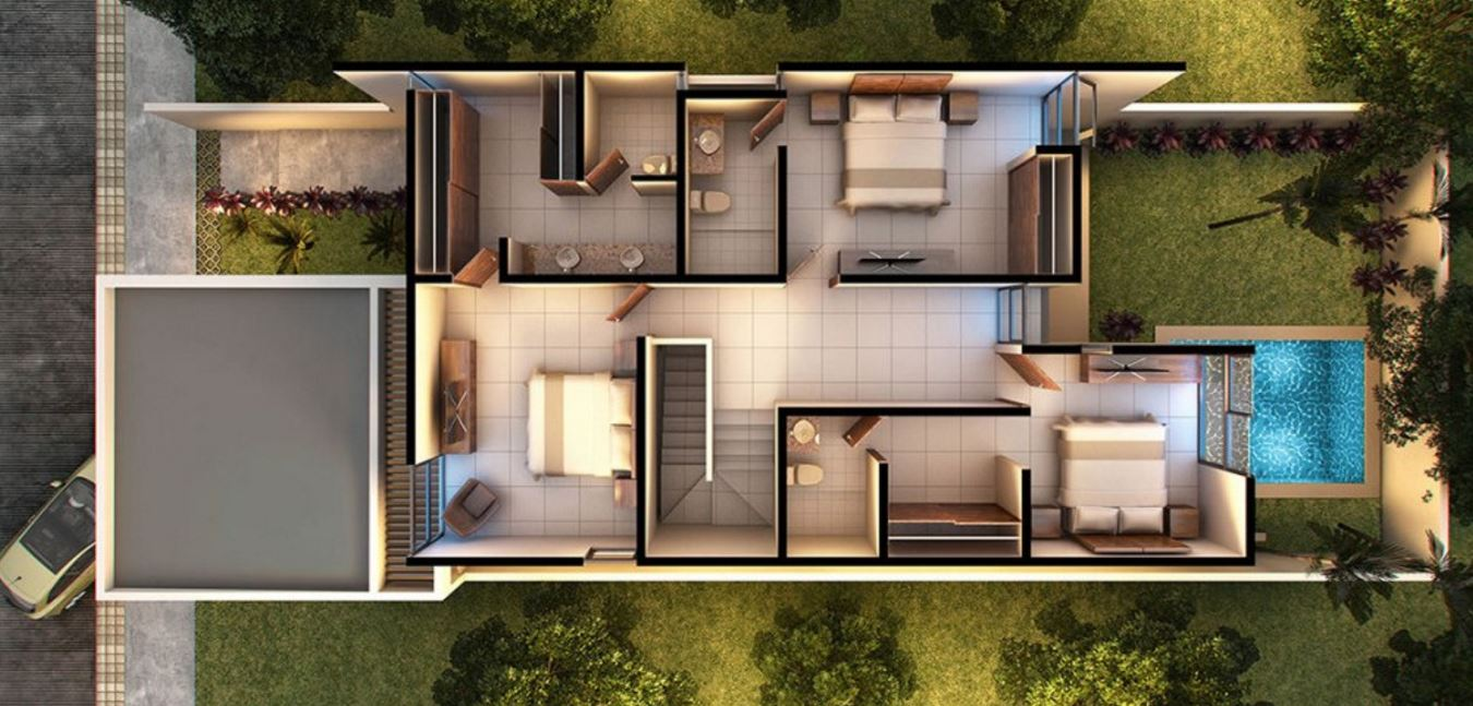 Planos de casas de dos pisos modernas for Planos de casas de 3 pisos