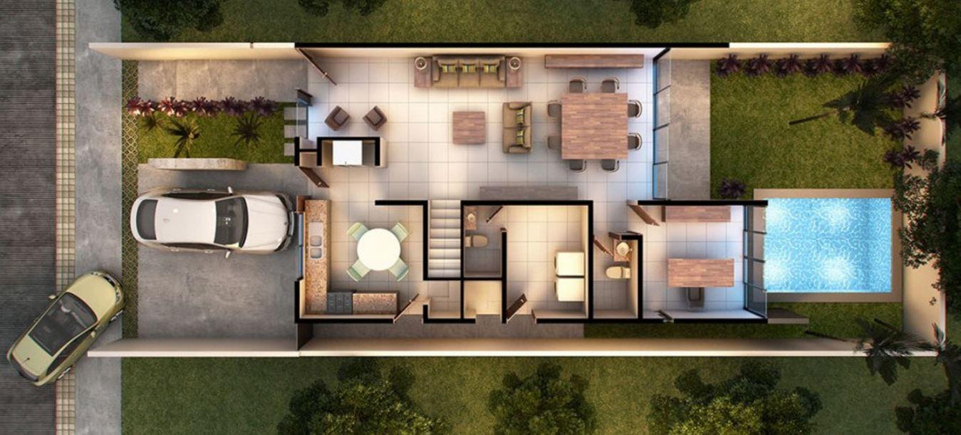 Plano de casa moderna de dos pisos con cochera for Planos para casas de dos pisos modernas