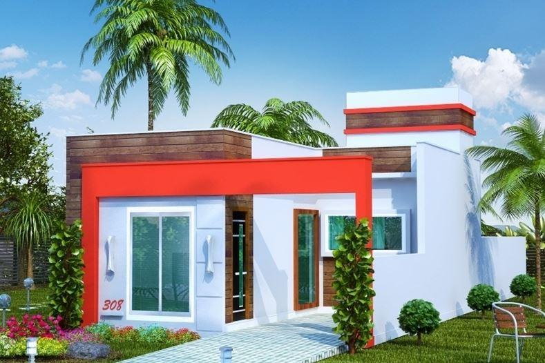 al mismo tiempo que esta vivienda de un piso dos y techo plano presenta una fachada moderna que combina colores alegres y osados como el rojo
