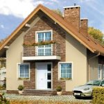 Casas de dos pisos con techo de dos aguas