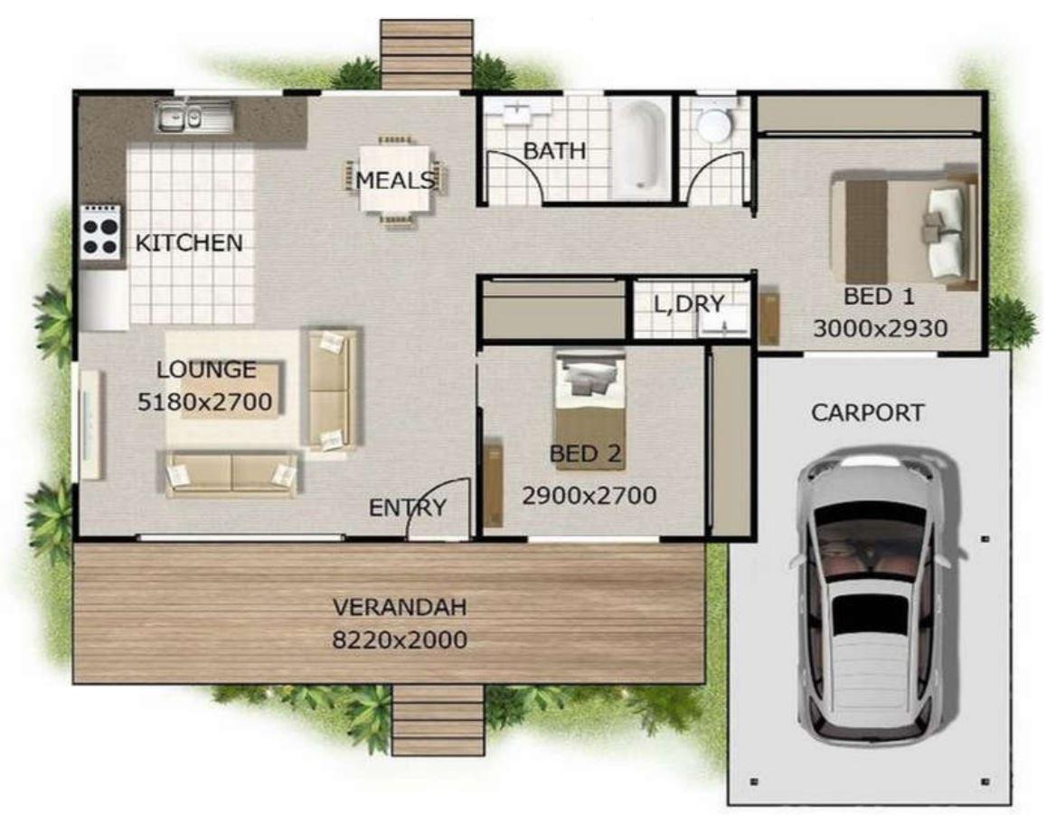 modelo de casa de 2 dormitorios y garaje