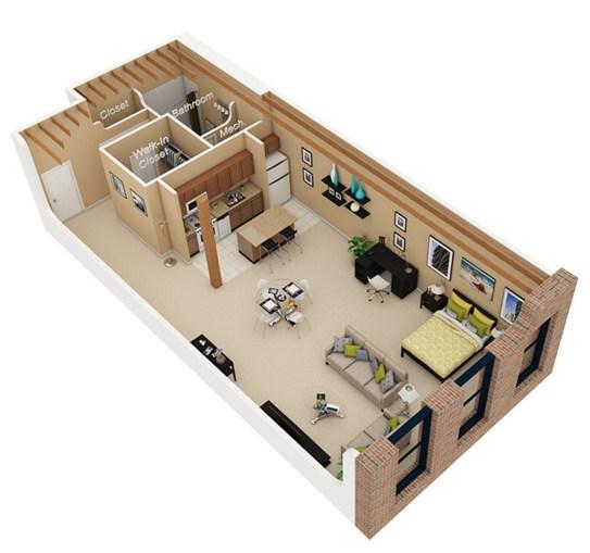 Departamento para oficina for Planos departamentos pequenos modernos