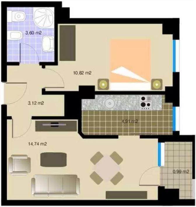 Departamentos peque os en planos modernos for Planos departamentos pequenos modernos