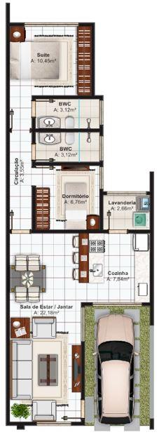 la restante superficie cubierta de este modelo de casa de dos dormitorios y techo plano se destina a las y los cuartos de bao