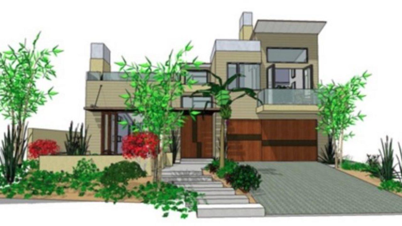 Casa Moderna En Dos Pisos Con Fachada Y Planos