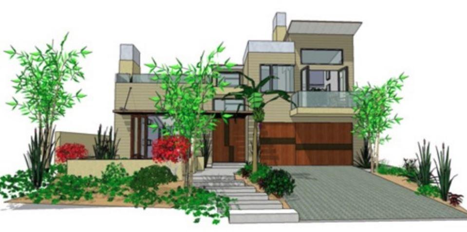 Casa moderna en dos pisos con fachada y planos for Casas modernas de dos pisos 2017