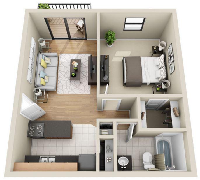 Charmant El Segundo Diseño De Apartamento Moderno Es Similar Al Anterior Puesto Que  La Cocina, El Comedor Y La Sala De Estar Se Encuentran Unidos Entre Sí ...