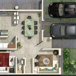 Plano de 1 piso con pasillo lateral
