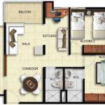 Plano de casa con 2 alcobas
