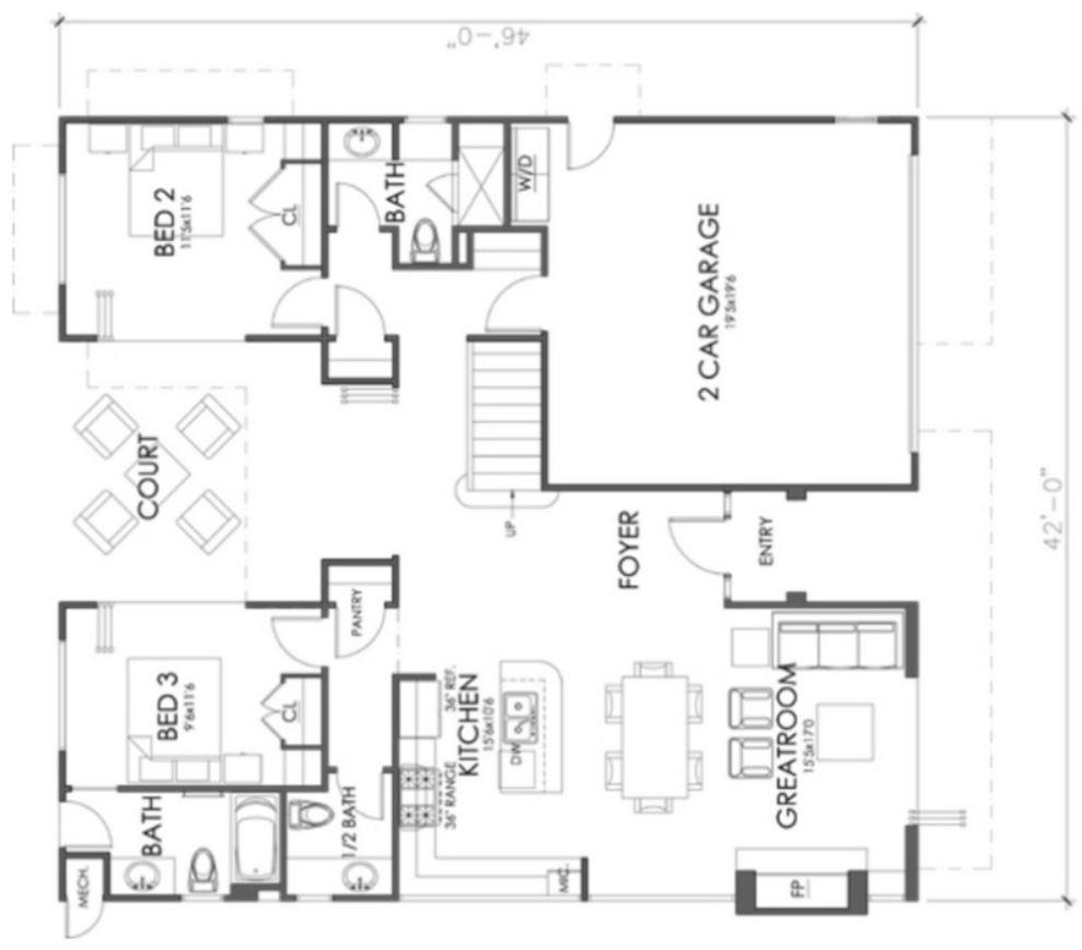 Casa moderna en dos pisos con fachada y planos for Casas modernas planos y fachadas