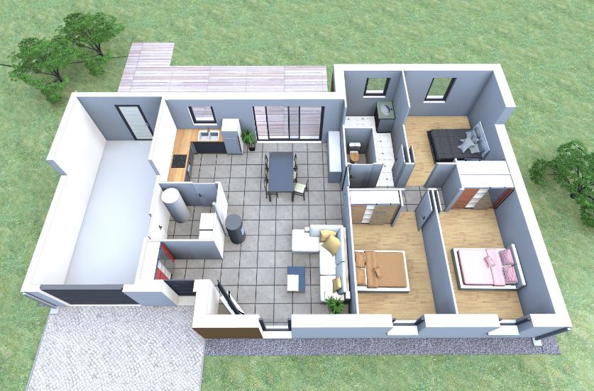 Plano de casas con 3 dormitorios y garaje for Modelos de casas de 3 dormitorios