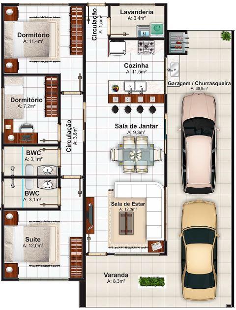 Planos de casas 12 metros de frente for Planos de casas 90m2