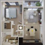 Planos de departamentos pequeños cuadrados – 3 Diseños