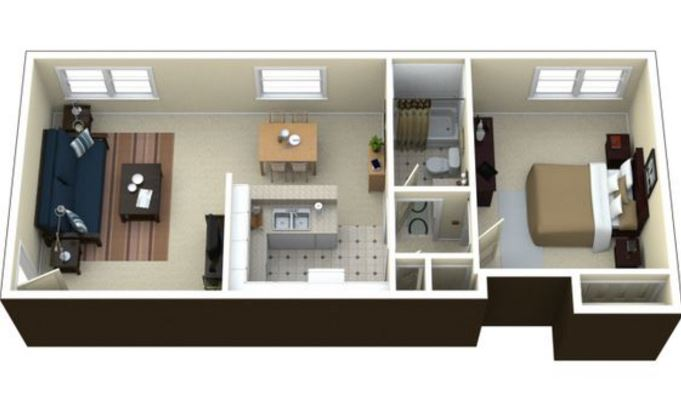 Plano de departamento moderno for Distribucion apartamentos pequenos