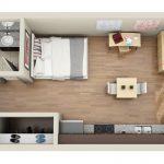 5 Planos de departamentos rectangulares de un dormitorio
