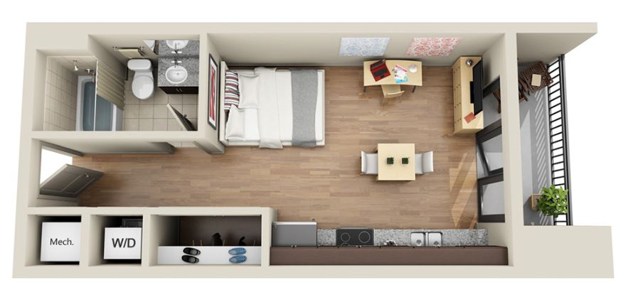 Floor Plans With Dimensions moreover 4 Inspiring Home Designs Under 300 Square Feet With Floor Plans likewise Le Plan Appartement Dun Studio 50 Idees together with 4fb6b1299bbadbae besides 50 Studio Type House Interior Design. on tiny studio apartment floor plans