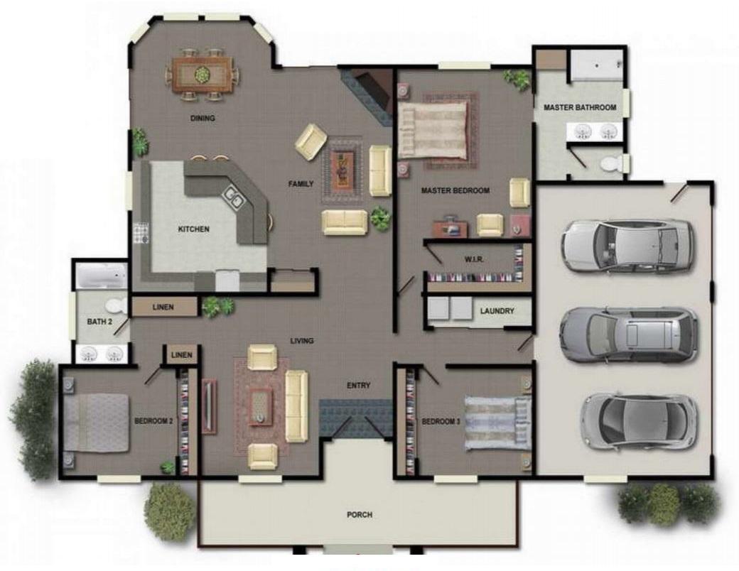 Planos de casas con cochera doble for Casa con garage laterale