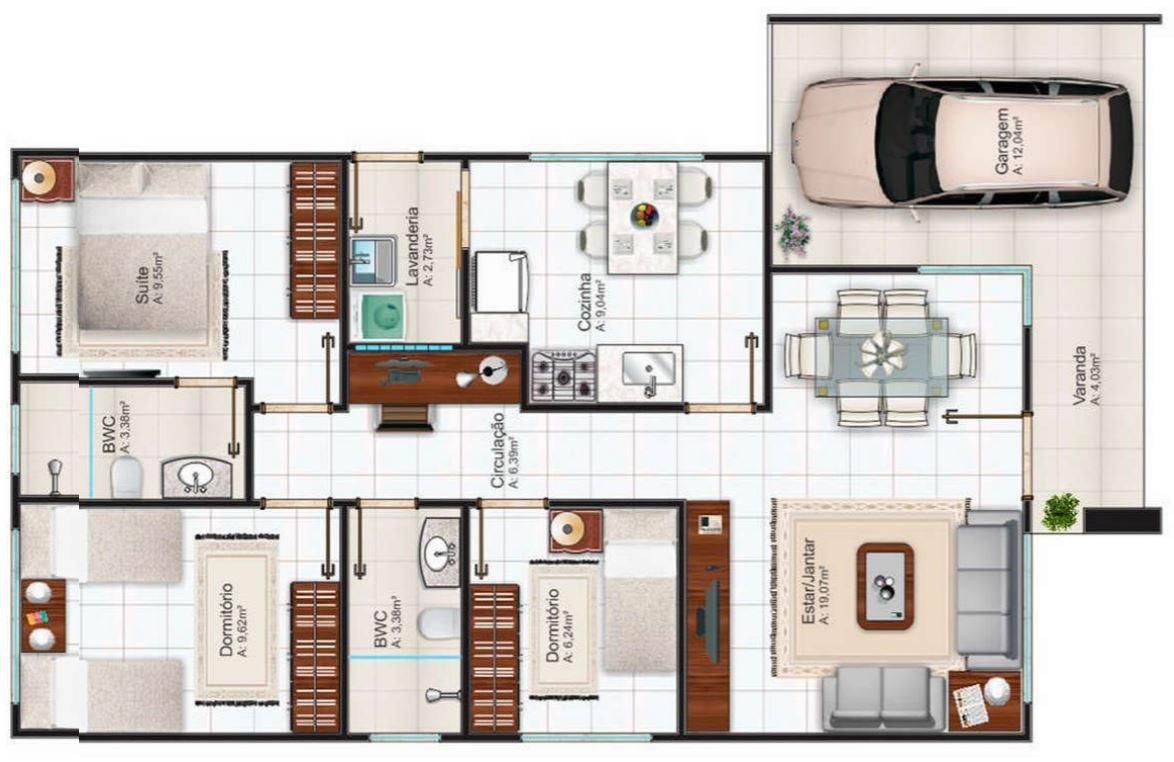 planos de casas pequenas modernas con cochera
