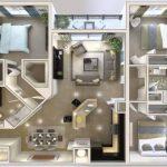 Plano de departamento de 3 dormitorios y forma cuadrada
