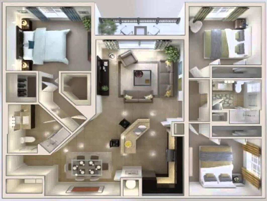 Plano de casa con 3 recamaras for Plano departamento 2 dormitorios