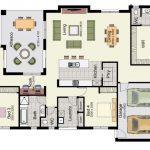 Planos de casas con 4 dormitorios en una sola planta