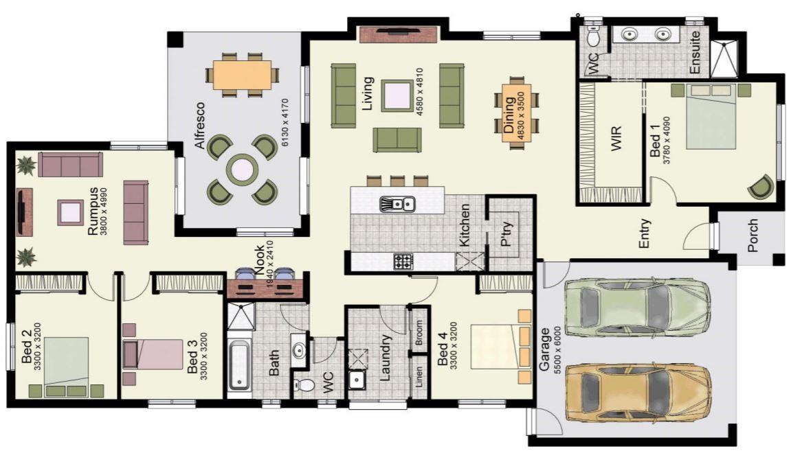 Planos de casas con 4 dormitorios en una sola planta for Fachadas de casas de una sola planta