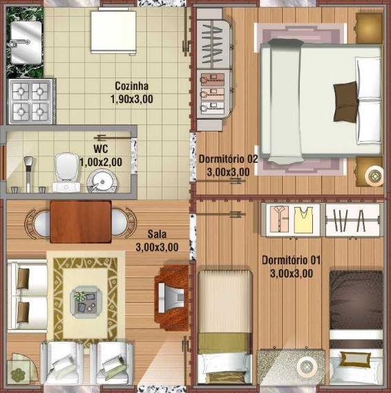 Plano de casa de 36 m2 for Diseno de apartamentos de 90 metros cuadrados