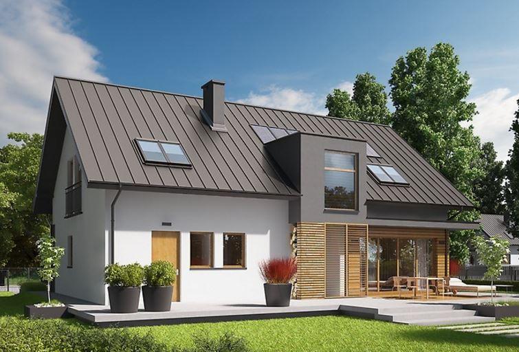 Plano de casa de dos pisos con techo de chapa for Casas modernas techos inclinados