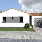 Diseño de casa de una planta con 2 dormitorios