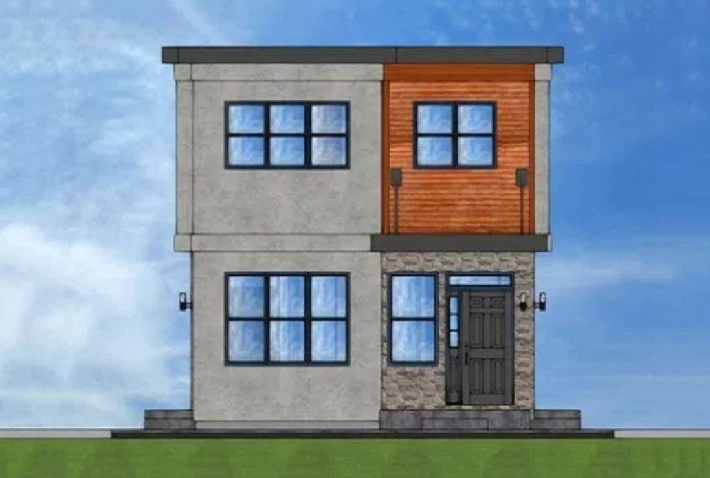 Plano de duplex economico for Casa minimalista 100 metros