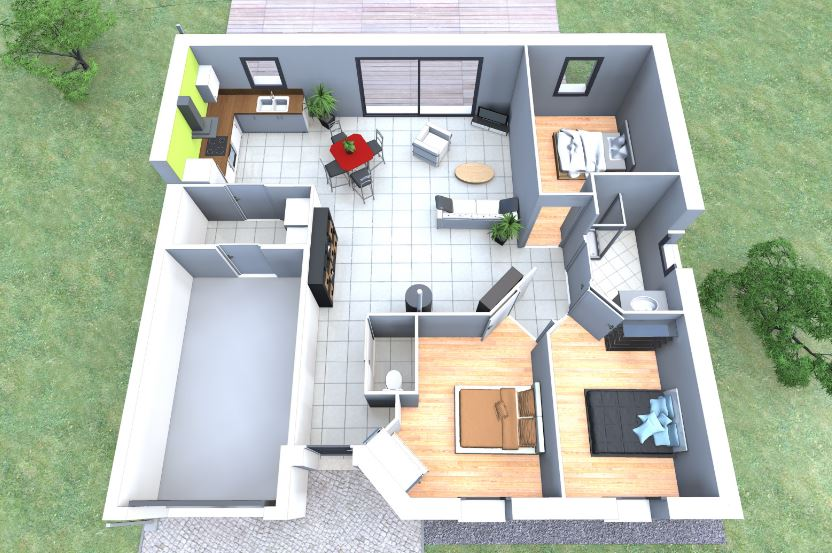 Plano casa 80 metros cuadrados 3 dormitorios for Casa moderna 80 metros cuadrados