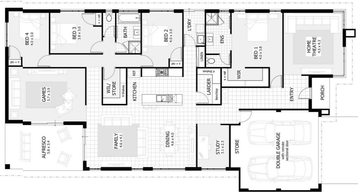 Plano casa con dise o moderno y minimalista 4 dormitorios for Planos casa minimalista 3d