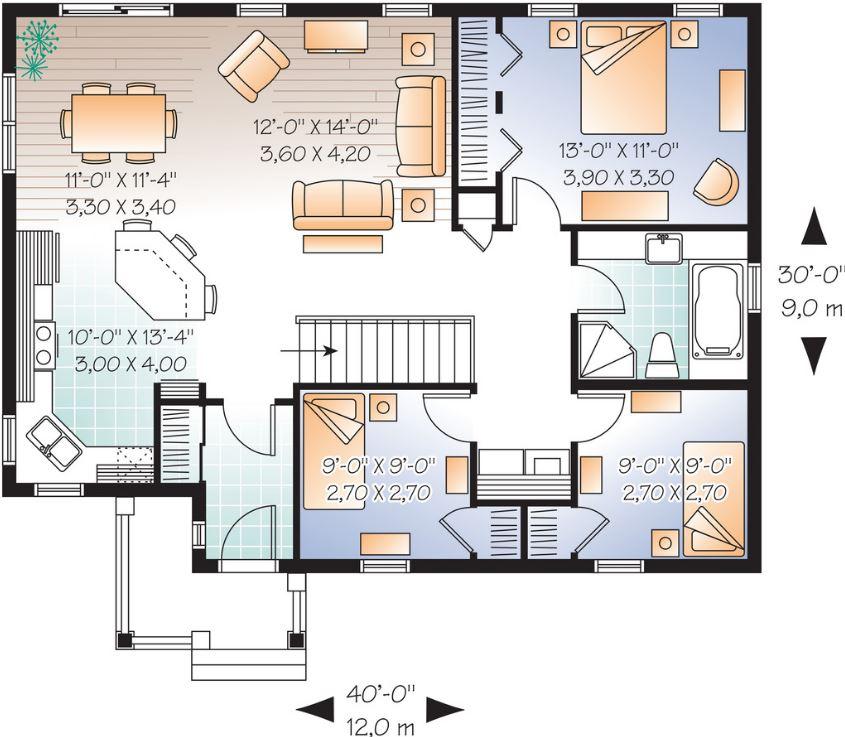 Plano de casa de tres dormitorios sin cochera - Cuanto cuesta reformar un bano de 3 metros ...