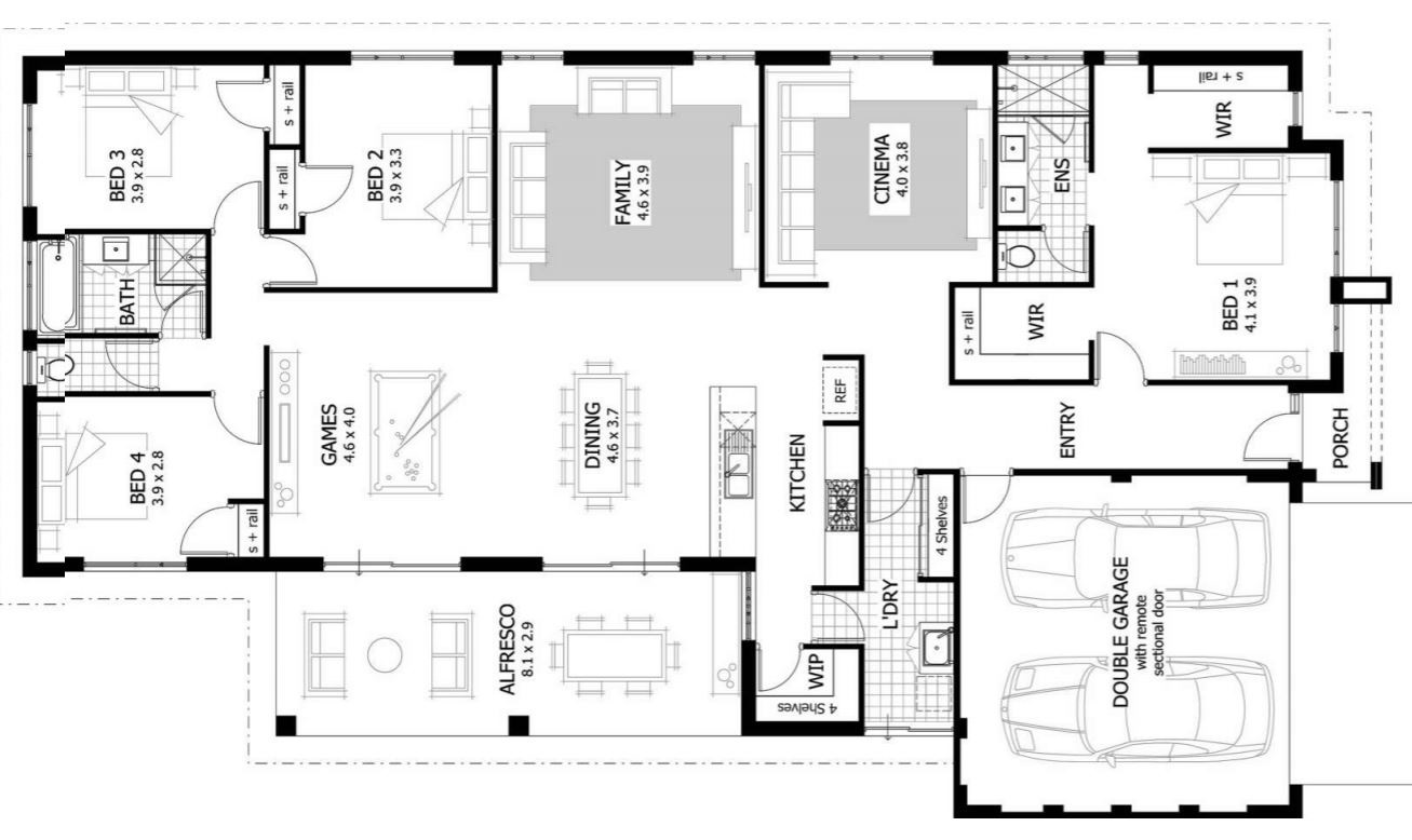 4 dormitorios for Planos de casas de tres dormitorios en una planta
