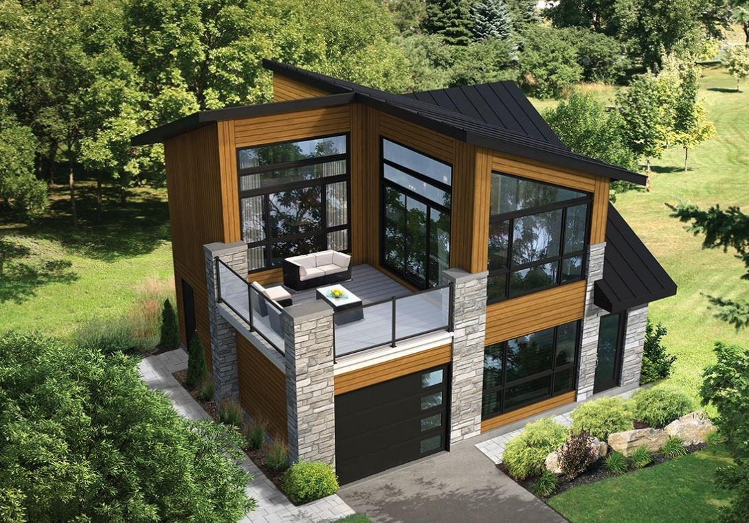 Plano de casa con terraza en el segundo piso for Planos terrazas exteriores