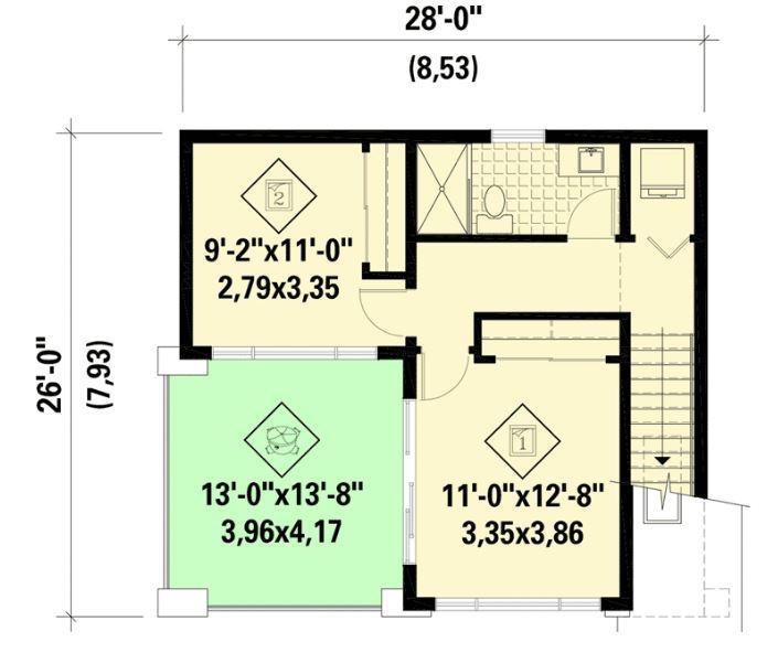 planos de casas 9x8