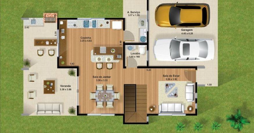 Plano de casa de 2 pisos 3 habitaciones for Cuarto de 10 metros cuadrados